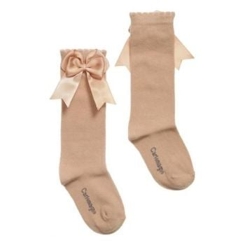 Girls Carlomagno Double Bow Socks - Camel