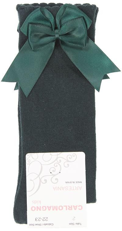 Girls Carlomagno Double Bow Socks - Bottle Green