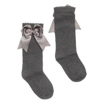 Girls Carlomagno Double Bow Socks - Grey