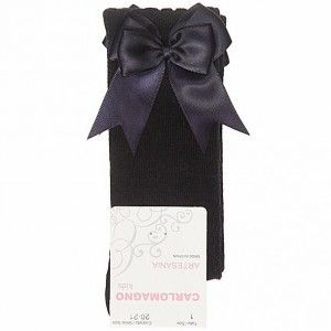 Girls Carlomagno Double Bow Socks - Navy
