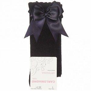 Girls Carlomagno Double Bow Socks - Navy
