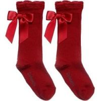 Girls Carlomagno Bow Socks - Red
