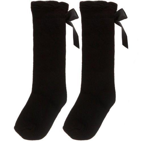 Girls Carlomagno Bow Socks - Black