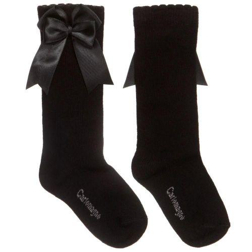 Girls Carlomagno Double Bow Socks - Black