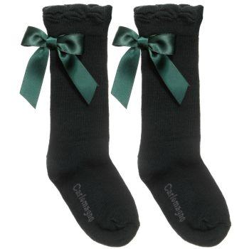 Girls Carlomagno Bow Socks - Bottle Green