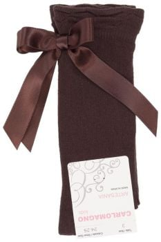 Girls Carlomagno Bow Socks - Brown