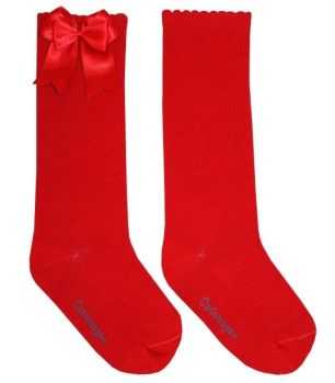 Girls Carlomagno Double Bow Socks - Red