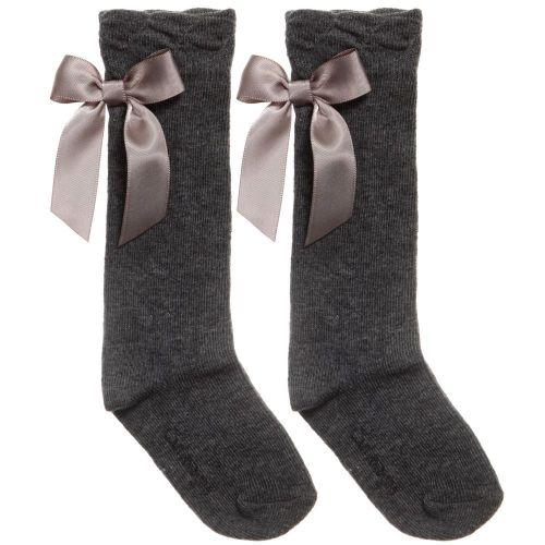 Girls Carlomagno Bow Socks - Grey