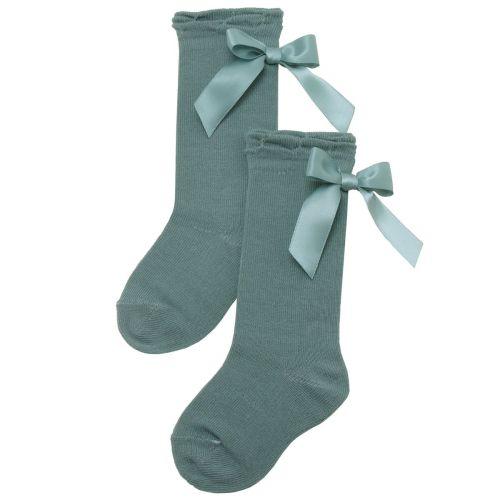 Girls Carlomagno Bow Socks - Sea Green