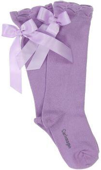 Girls Carlomagno Bow Socks - Lilac