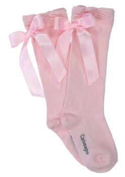 Girls Carlomagno Bow Socks - Pink