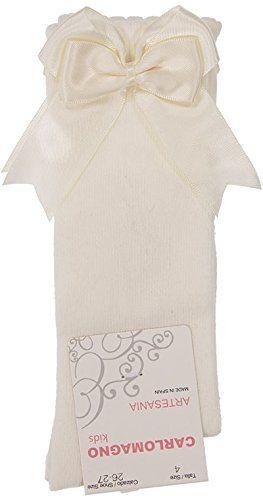 Girls Carlomagno Double Bow Socks - Cream