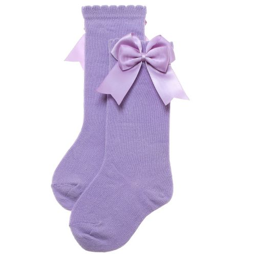 Girls Carlomagno Double Bow Socks - Lilac