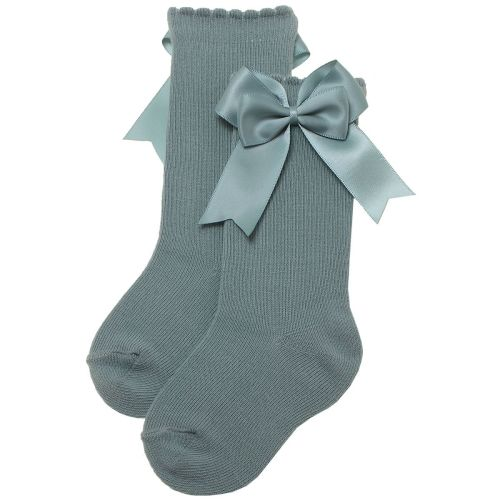 Girls Carlomagno Double Bow Socks - Sea Green