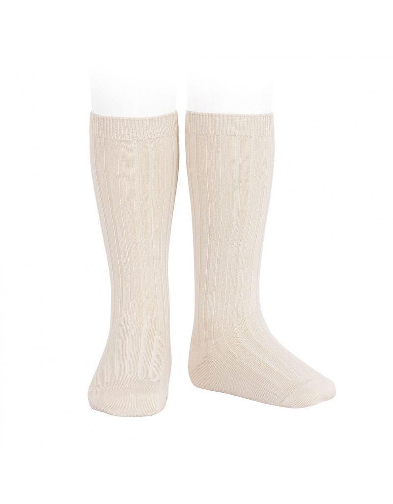 Condor Knee High Ribbed Socks - Cream