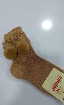 Condor Pom Pom Socks Short - Camel