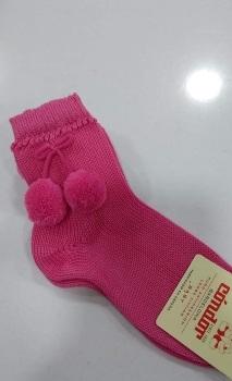 Condor Pom Pom Socks Short - Fuscia