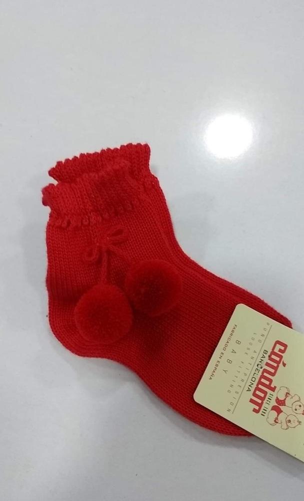 Condor Pom Pom Socks Short - Red