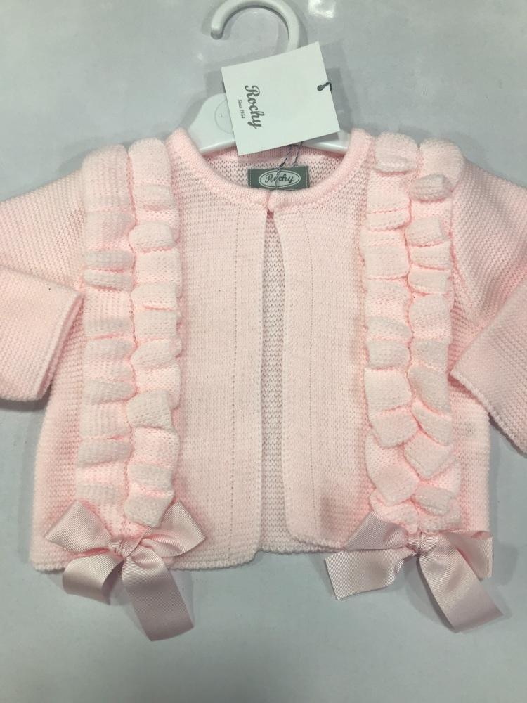 Girls Rochy Ruffle Cardigan - Pink