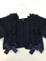 Girls Rochy Ruffle Cardigan - Navy