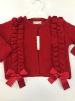 Girls Rochy Ruffle Cardigan - Red