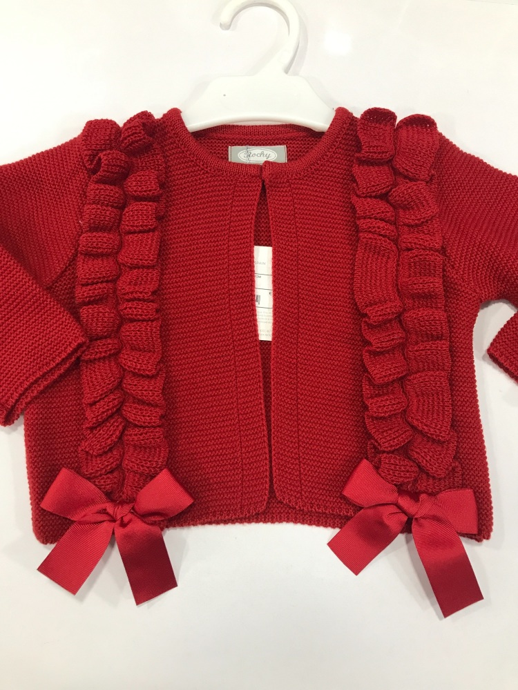 Girls Rochy Ruffle Cardigan - Red