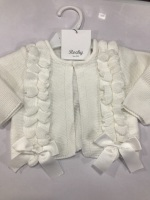Girls Rochy Ruffle Cardigan - White