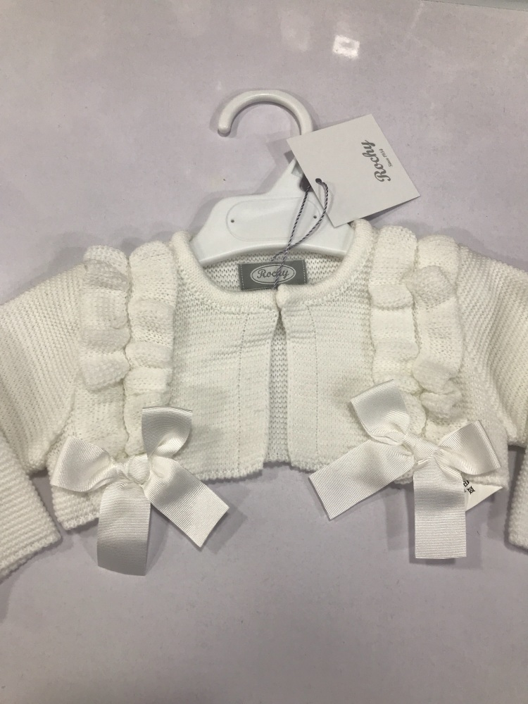 Girls Rochy Ruffle Bolero - White
