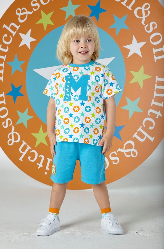 PRE ORDER SS20 Boys Mitch & Son Super Stars Ryaan T Shirt and Shorts Set MS