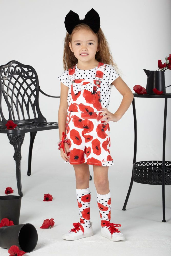 PRE ORDER SS20 Girls A*Dee Poppy Garden Agnes Dungaree Set S201503