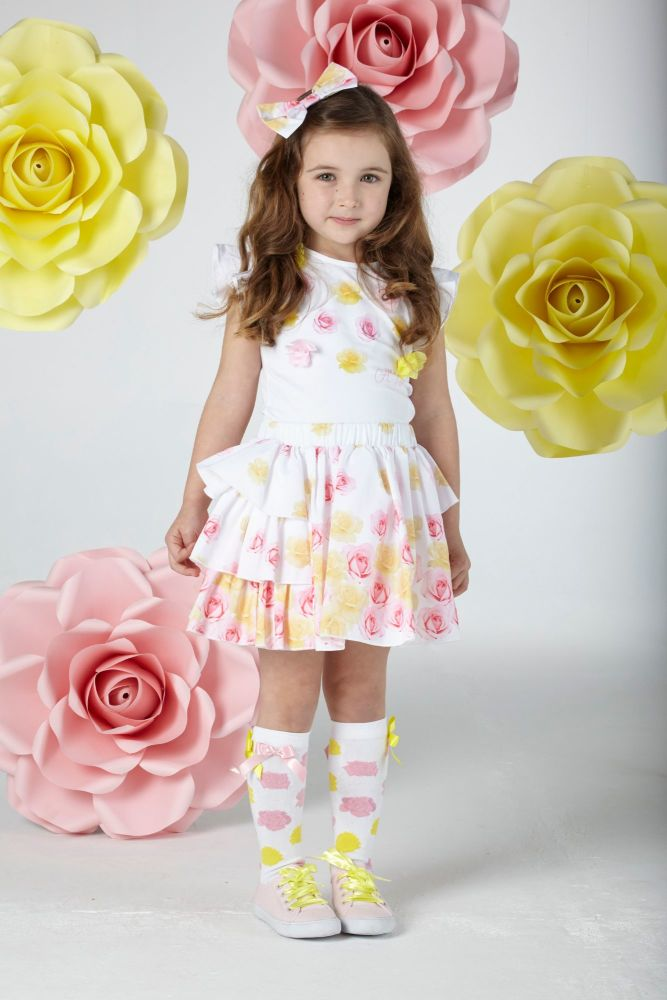 PRE ORDER SS20 Girls A*Dee Falling Roses Babs Top and Skirt Set S202517
