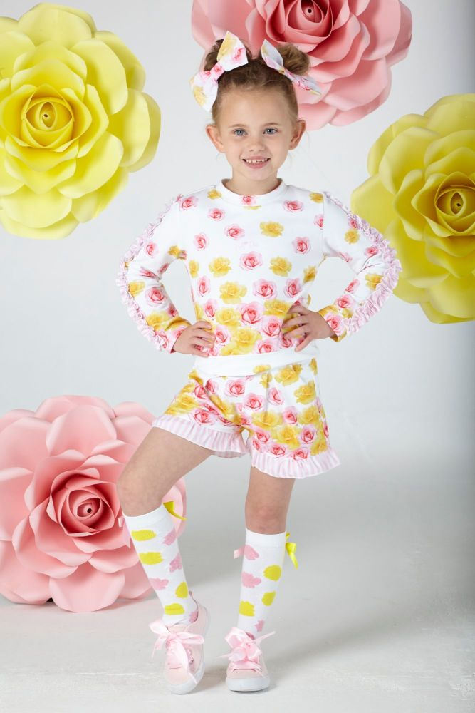 PRE ORDER SS20 Girls A*Dee Falling Roses Blair Sweatshirt and Shorts Set S2
