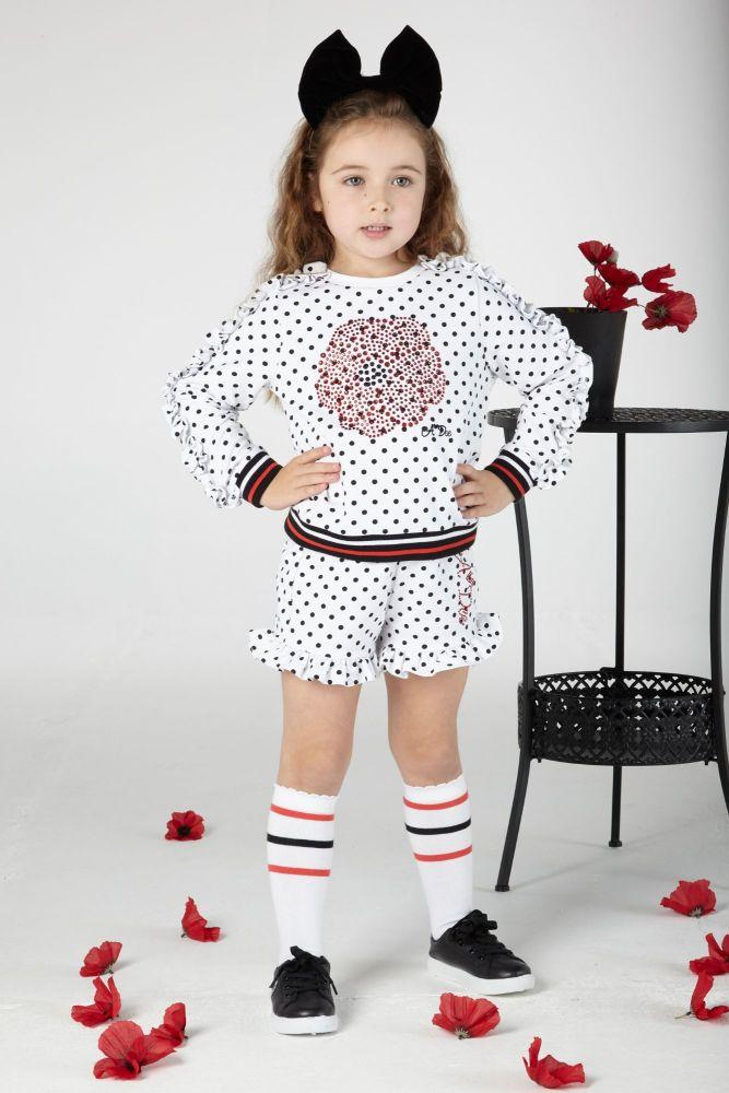 PRE ORDER SS20 Girls A*Dee Poppy Garden Aiden Spot Jumper and Shorts Set S2