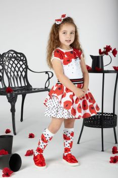 Girls A*Dee Poppy Garden Annie Top and Skirt Set S201515