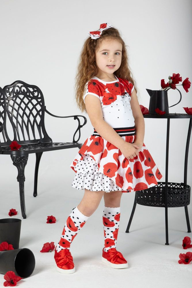 PRE ORDER SS20 Girls A*Dee Poppy Garden Annie Top and Skirt Set S201515