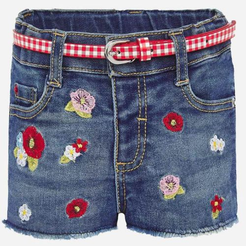 Girls Mayoral Shorts and Belt 1203 - Red Flowers
