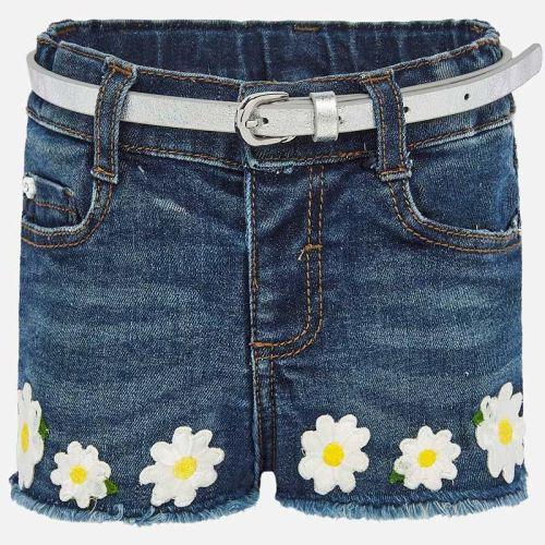 Girls Mayoral Shorts and Belt 1203 - White Daisys