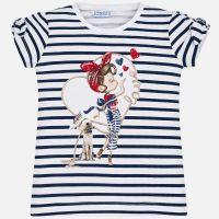 Girls Mayoral Short Sleeve T Shirt 3010 - White and Navy