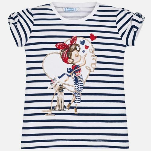 Girls Mayoral Short Sleeve T Shirt 3010 - White and Navy