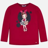Girls Mayoral Long Sleeve T Shirt 3021 - Red