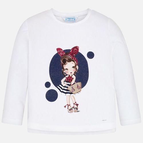 Girls Mayoral Long Sleeve T Shirt 3021 - White
