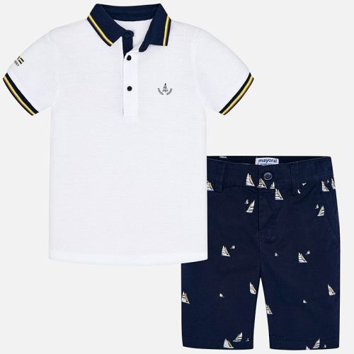 Boys Mayoral Polo Shirt and Shorts Set 3270 - White