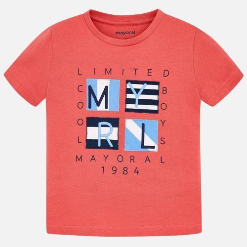 Boys Mayoral Short Sleeve T Shirt 3056 - Coral