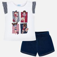 Girls Mayoral Top and Shorts Set 3289 White