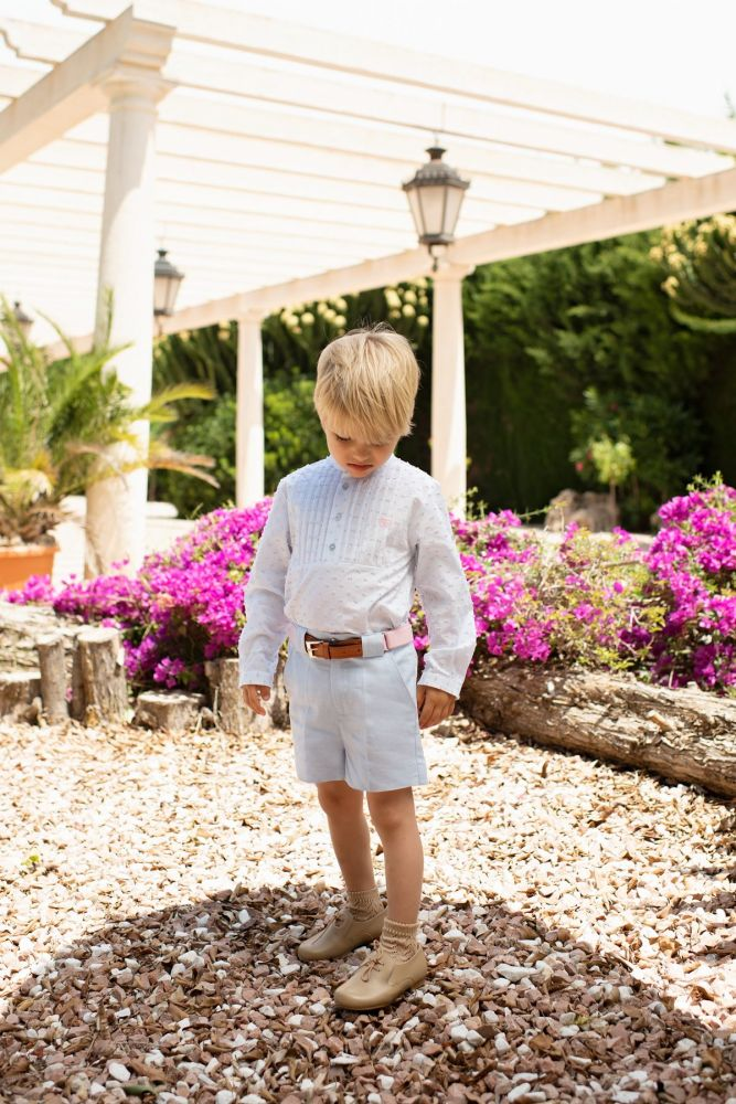 PRE ORDER SS20 Boys Dolce Petit Blue and White Set 2250 with Matching Belt