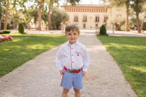 PRE ORDER SS20 Boys Dolce Petit Red, White and Blue Set 2271 with Matching