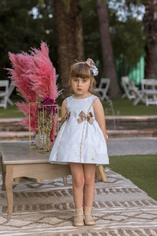 PRE ORDER SS20 Girls Dolce Petit Blue and Camel Dress 2251