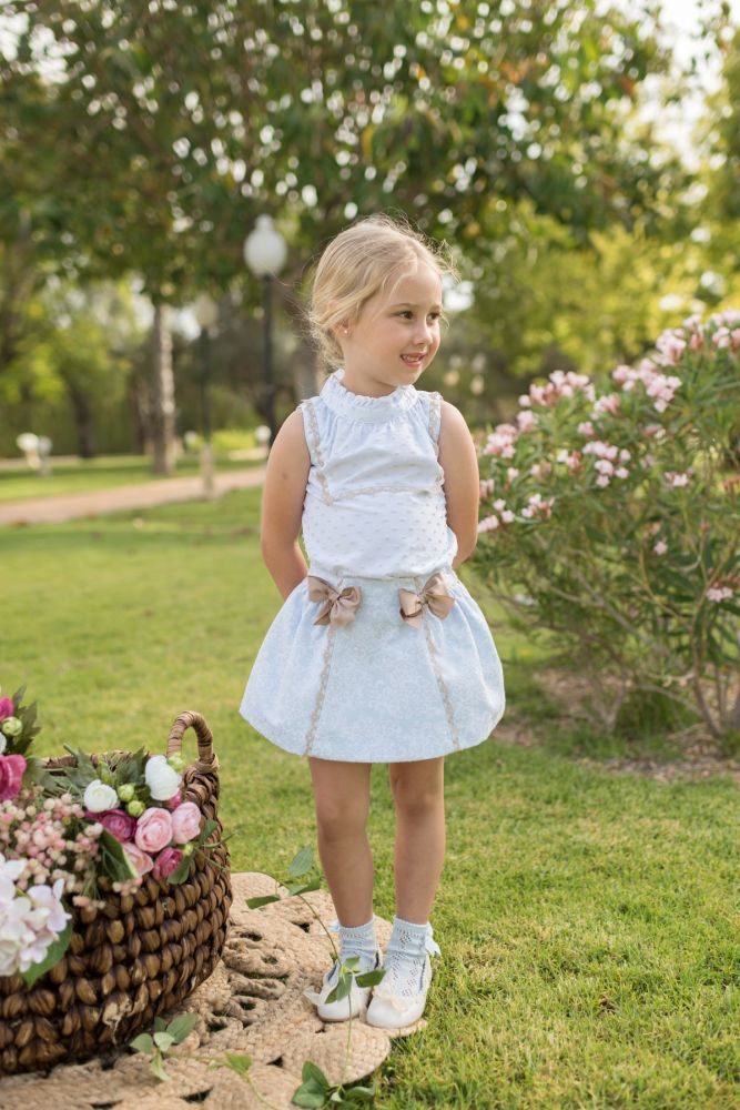 PRE ORDER SS20 Girls Dolce Petit Blue and Camel Skirt Set 2251