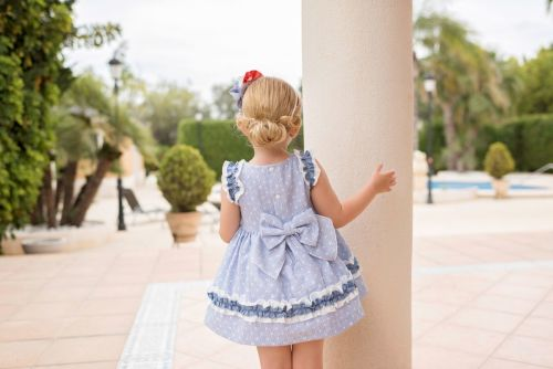 PRE ORDER SS20 Girls Dolce Petit Blue and White Dress 2243