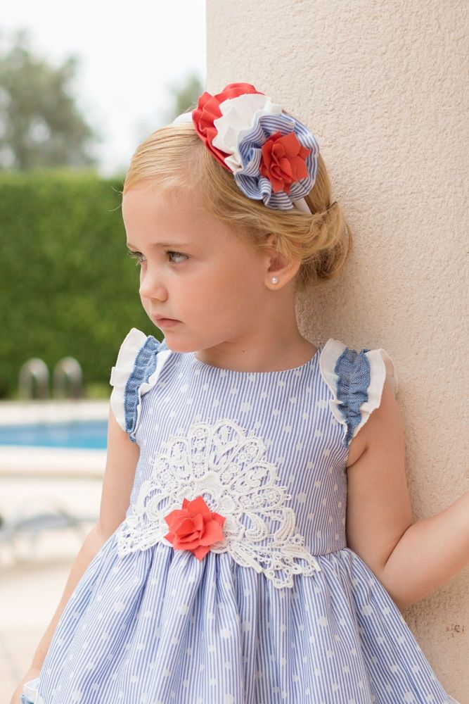 PRE ORDER SS20 Girls Dolce Petit Blue and White Headpiece 2243D